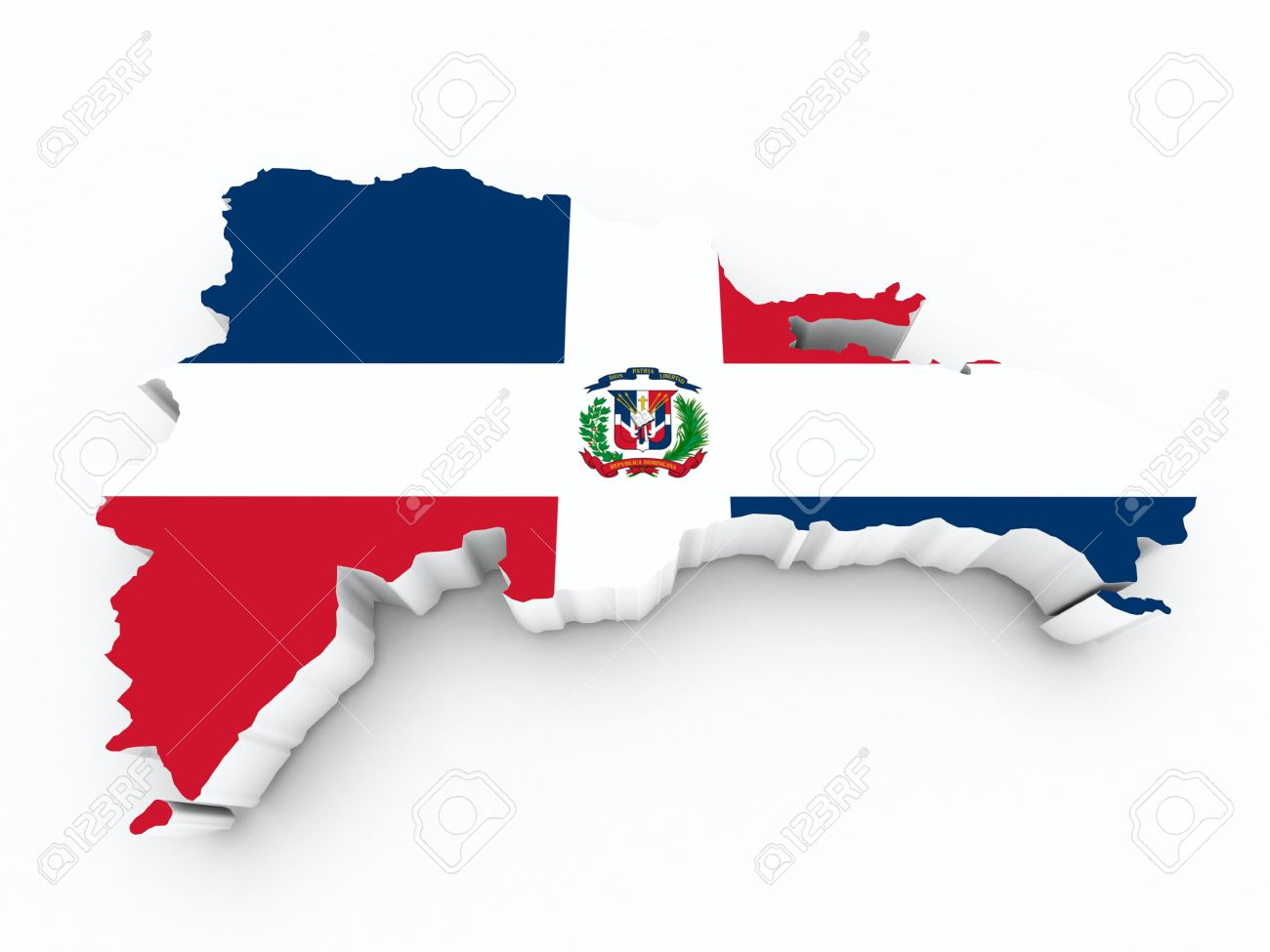 Dominican Republic Flag On 3d Map On White Isolated Stock Photo ...