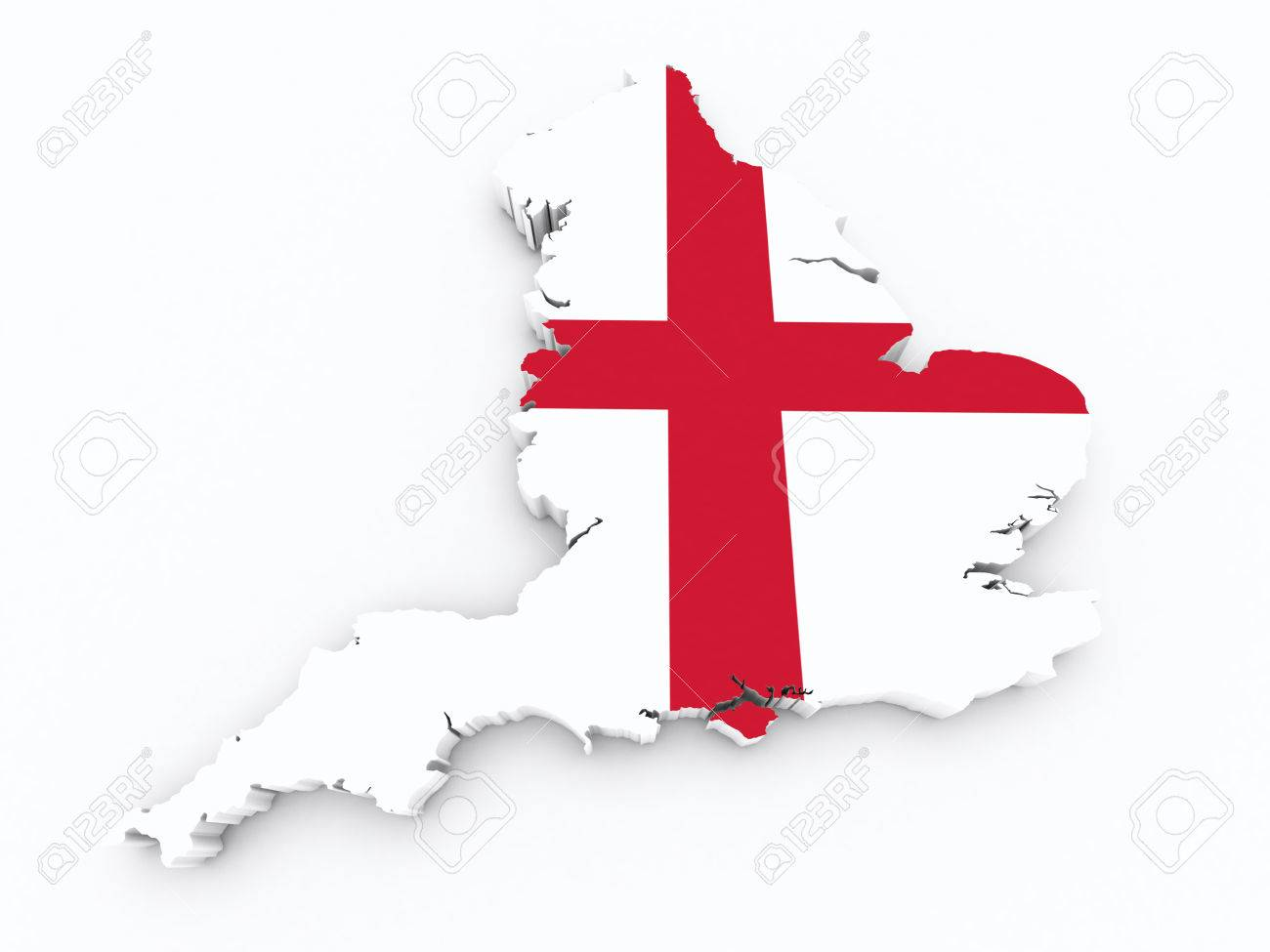 3d Map Of England.England Flag On 3d Map