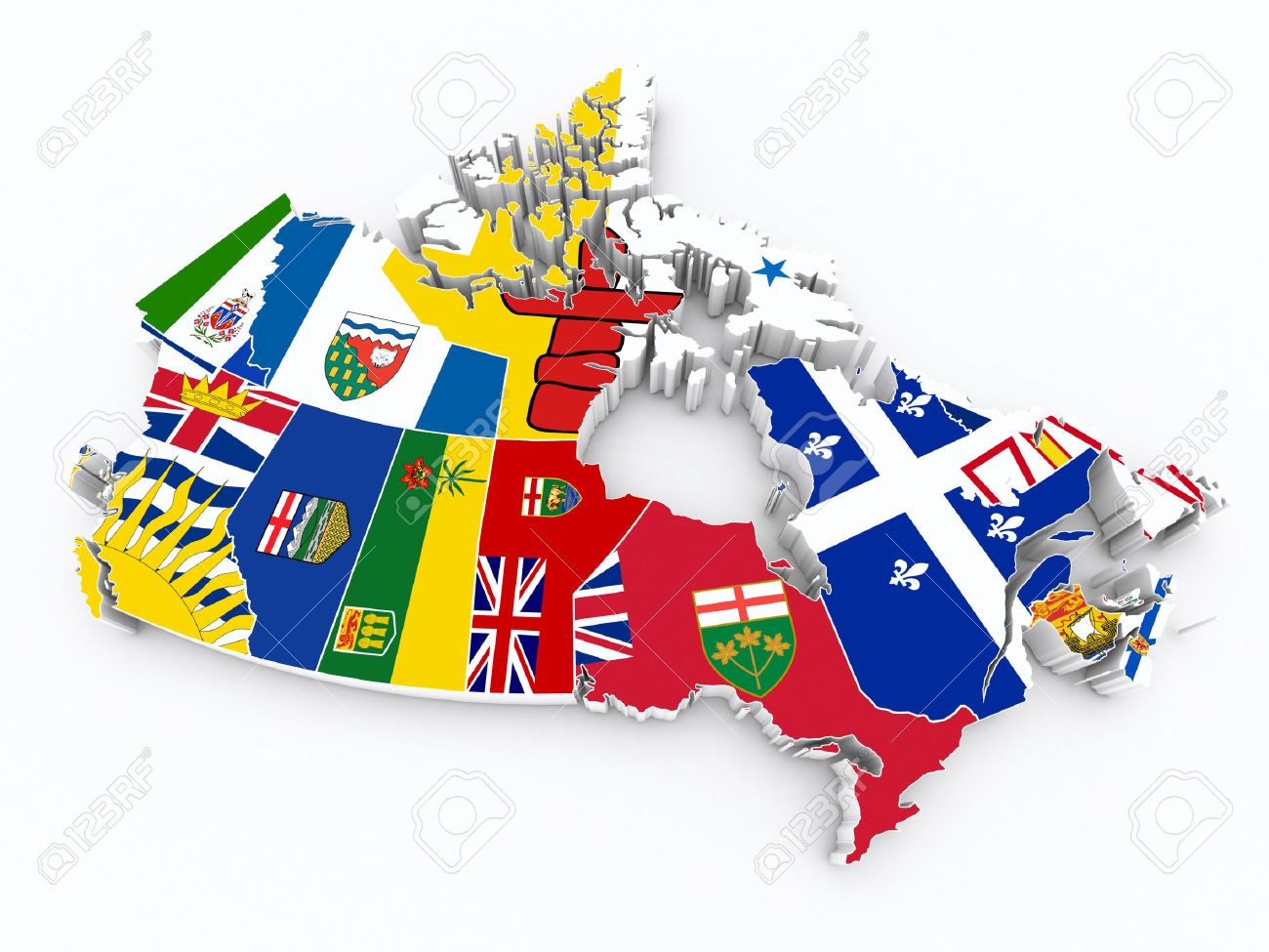 Map Of Canada 3d.Canada Provinces Flags On 3d Map
