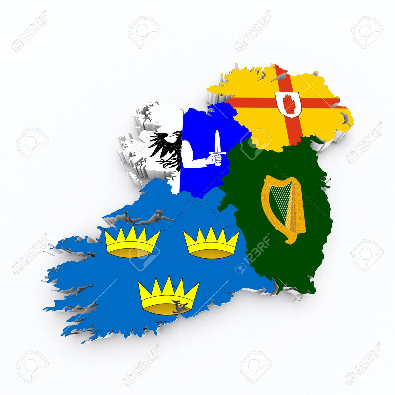 Ireland Four Provinces Flags On D Map Stock Photo Picture And - Ireland provinces map