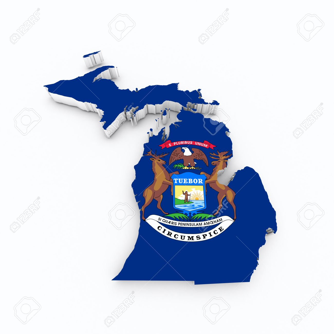Michigan State Flag Od D Map Stock Photo Picture And Royalty - Map of the state of michigan