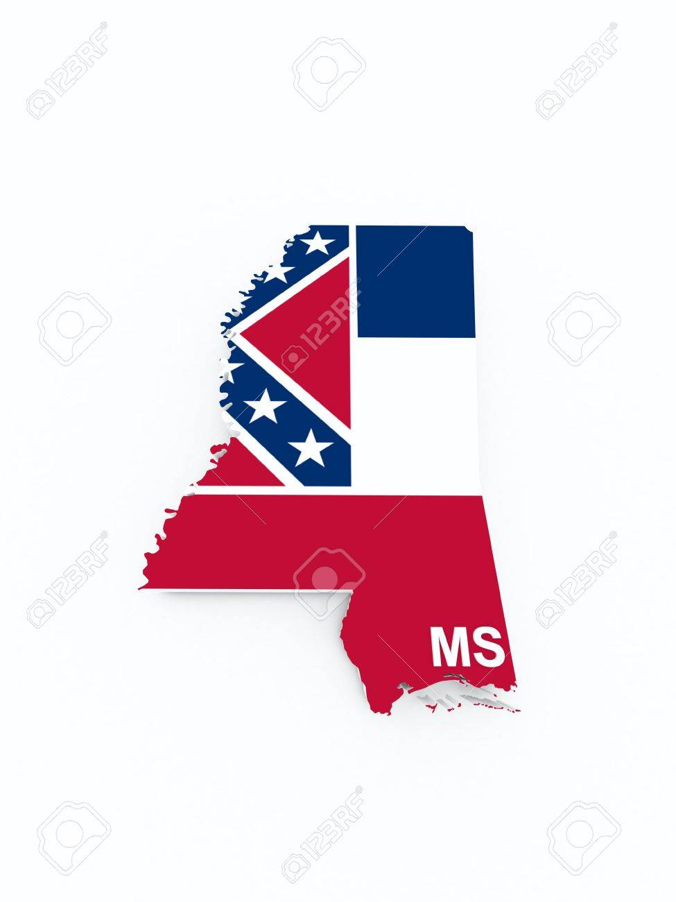 Mississippi State Flag On 3d Map Stock Photo Picture And Royalty