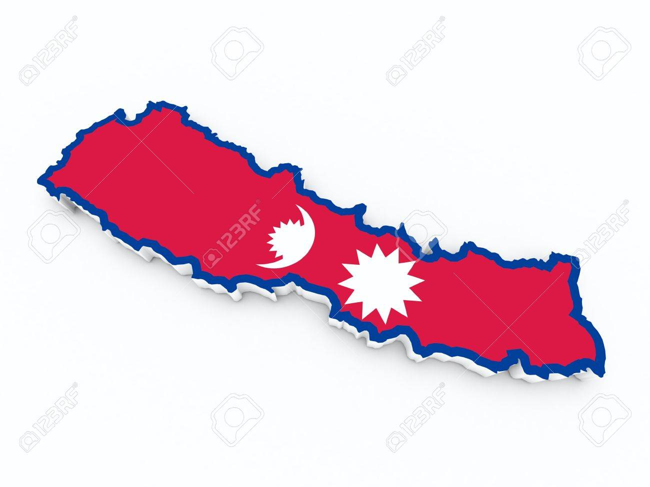nepal flag on 3d map