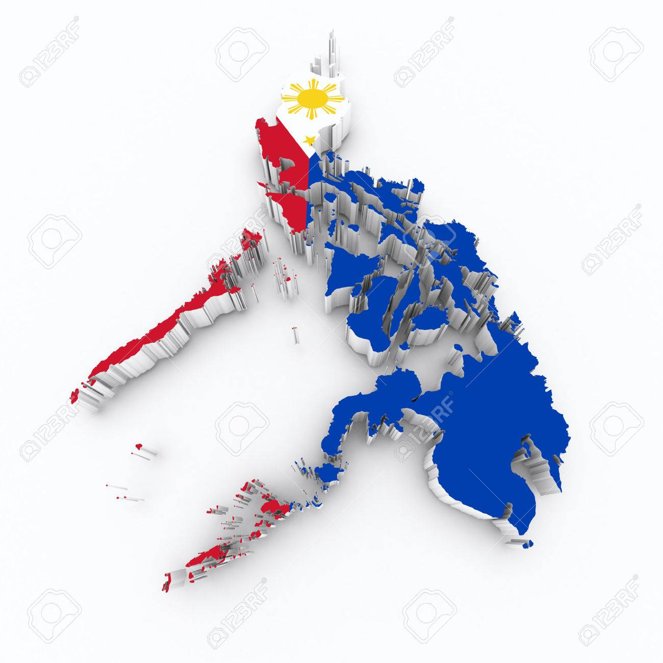 Map Of The Philippines 3D Philippines Flag On 3d Map Stock Photo, Picture And Royalty Free