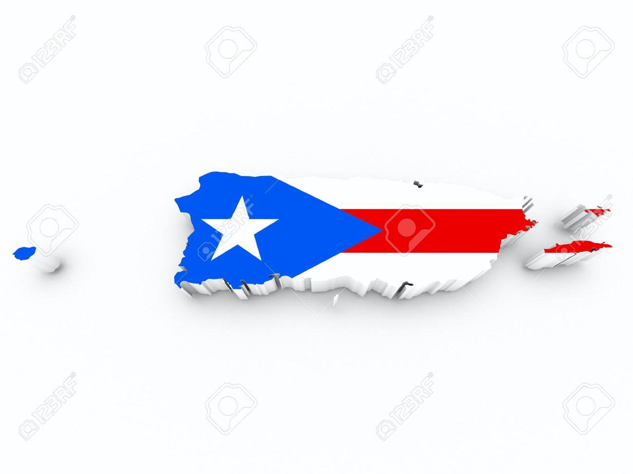 Puerto Rico Flag On 3d Map Stock Photo 43929479