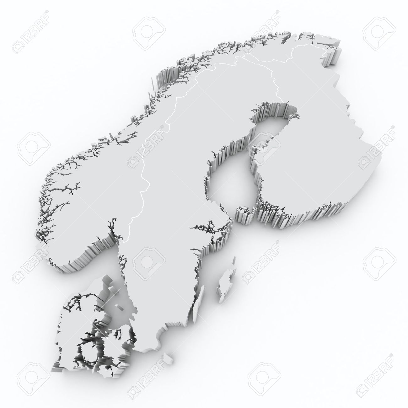 Scandinavia D Map Stock Photo Picture And Royalty Free Image - Map of scandinavia