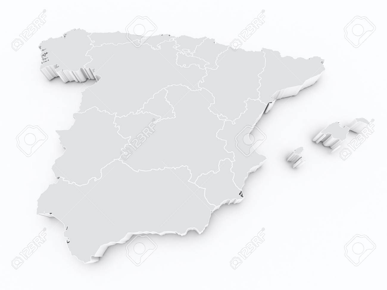 3d Map Of Spain.Spain Autonomous Communities 3d Map