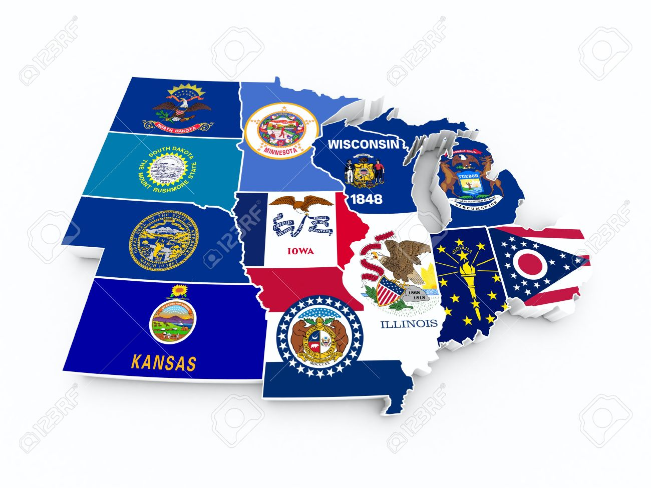Map Usa Midwest Region Stock Photo, Picture And Royalty Free Image ...