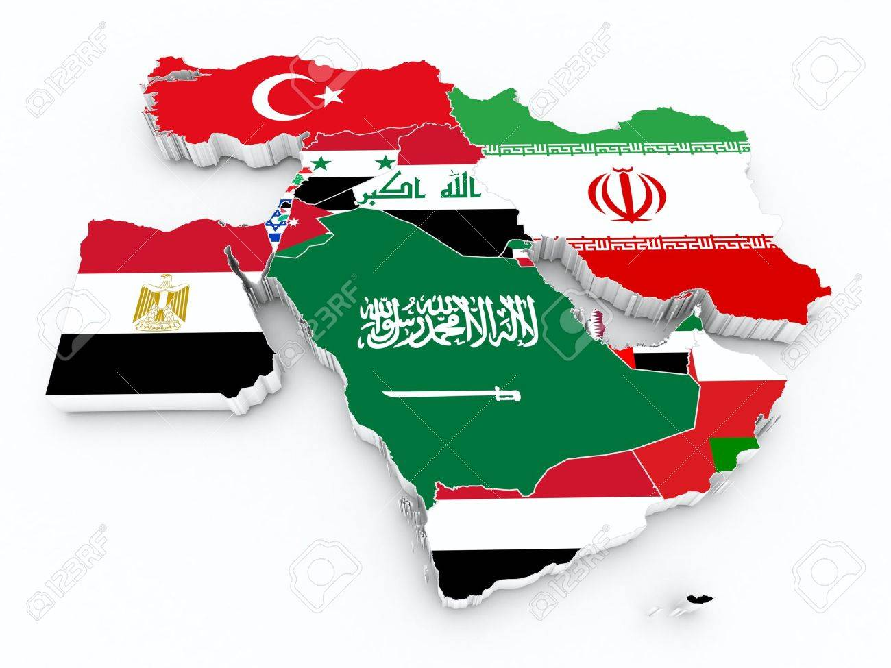 Picture of: Middle East 3d Map With State Flags Stock Photo Picture And Royalty Free Image Image 48283905
