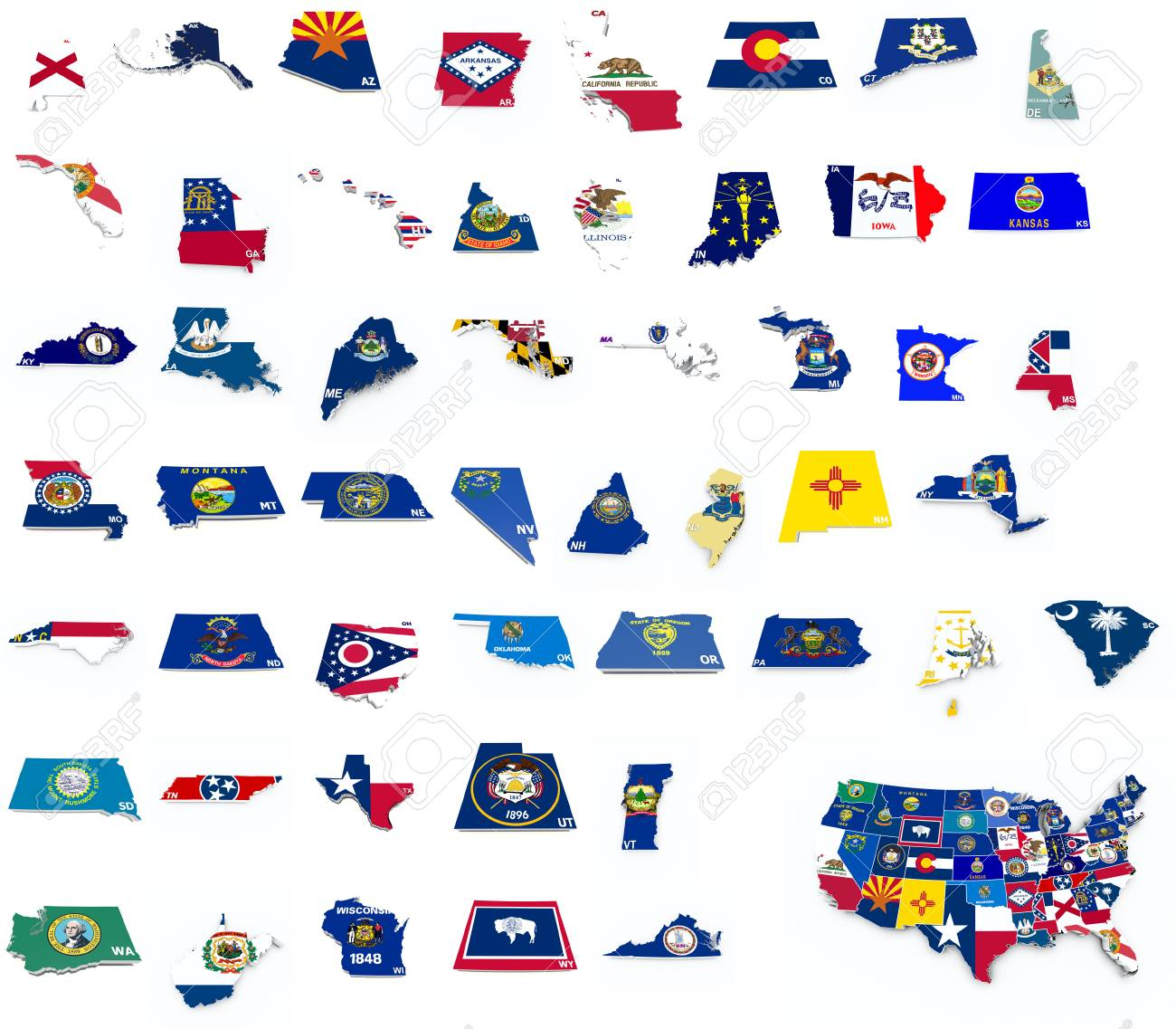 Usa State Flags On 3d Maps Stock Photo Picture And Royalty Free - Us-map-with-state-flags