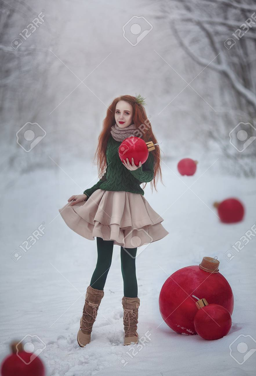Huge Christmas Card.Beautiful Red Haired Girl Like A Doll With Huge Christmas Red