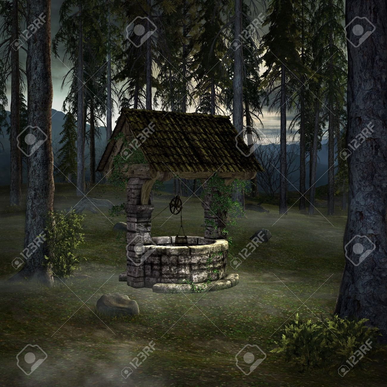 Old well on a clearing illustration Stock Photo - 11367267