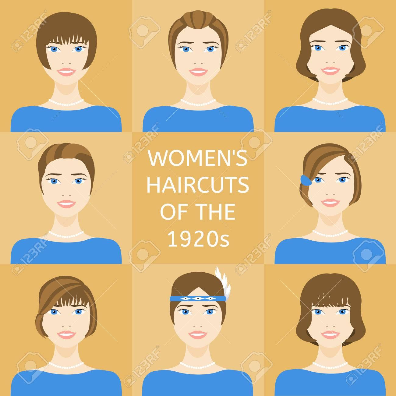 Peinados De Las Mujeres De 20 Anos Del Siglo Xx Conjunto De Ocho
