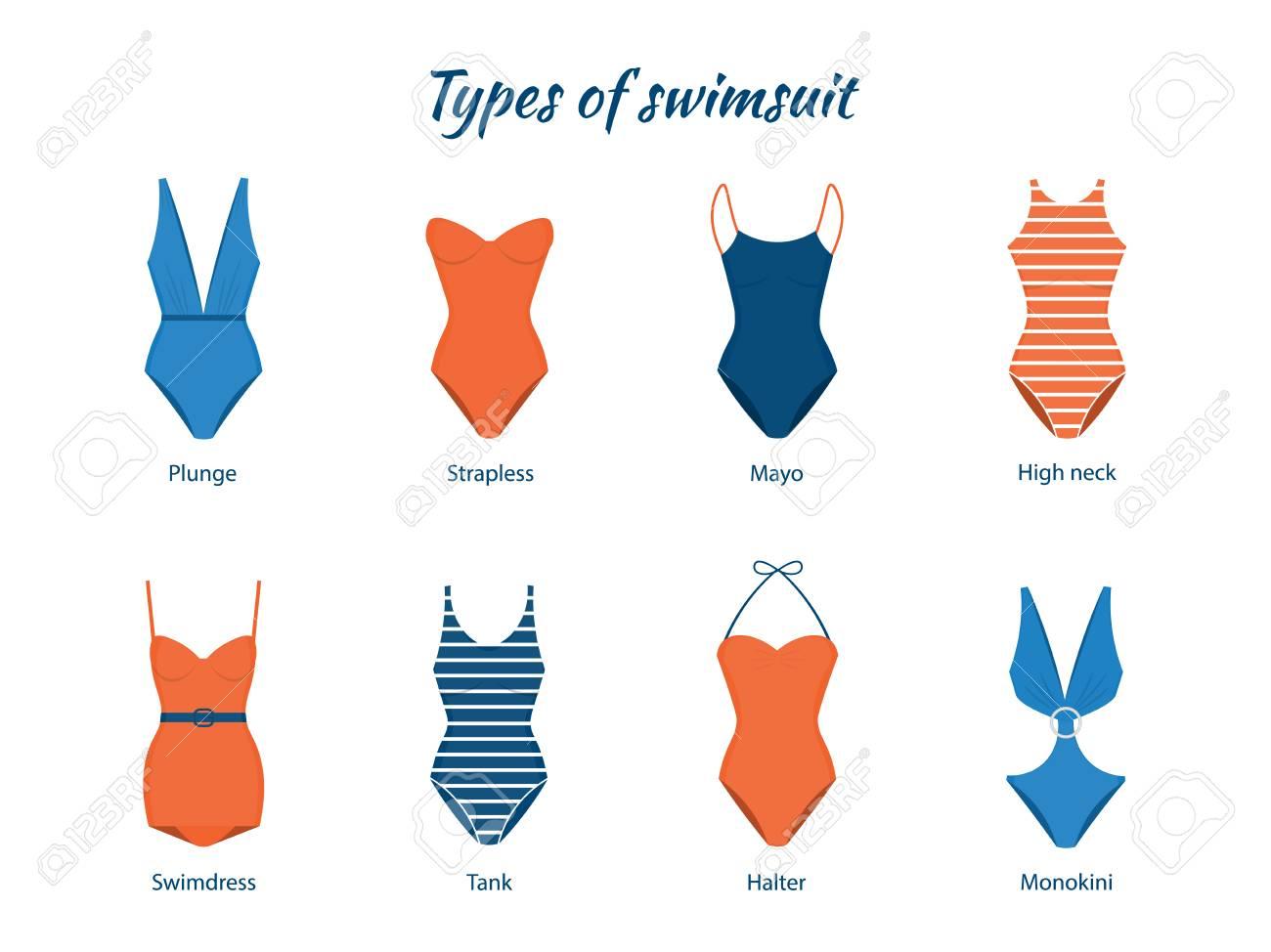 a77740433944 Ilustración de vector de trajes de baño de una pieza. Varios tipos de ropa  de playa para mujeres. Modelos modernos y retro.