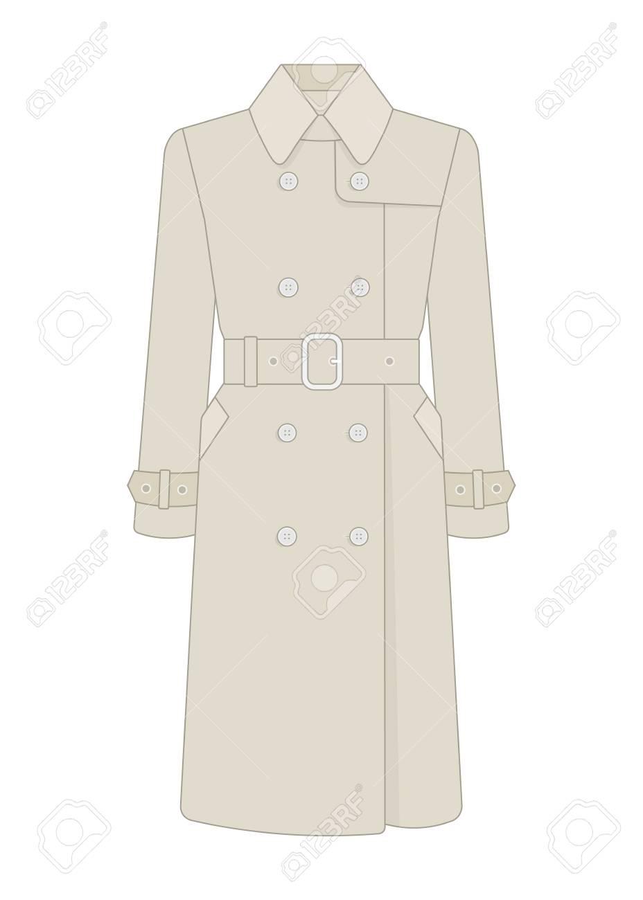 e40bbda88cde Foto de archivo - Gabardina para mujer con cinturón. Modelo de moda del  guardarropa de las mujeres. Ilustración vectorial