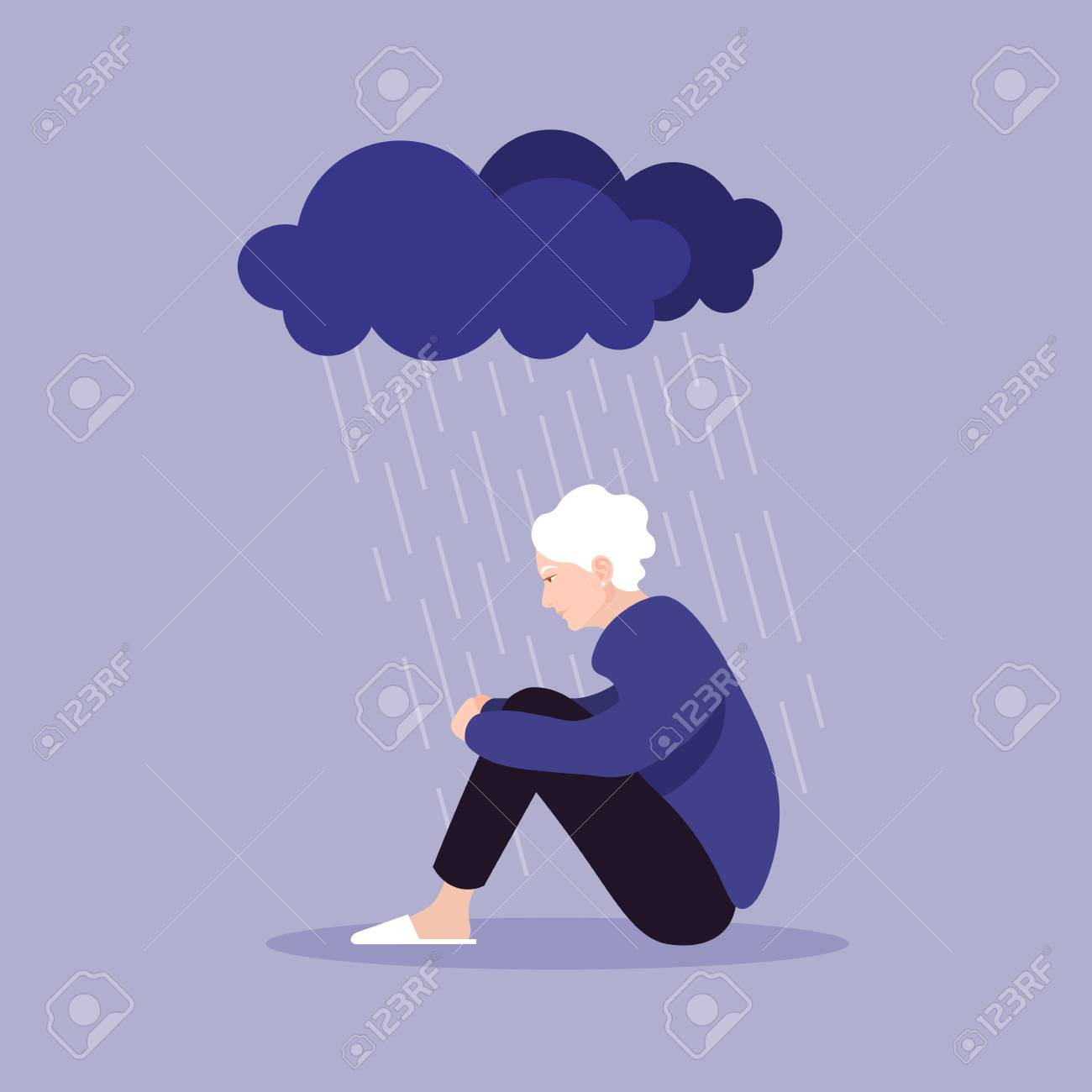 Profile of an old woman. A pensioner sits clasping her legs. Depression and melancholy. Vector flat illustration - 123329404