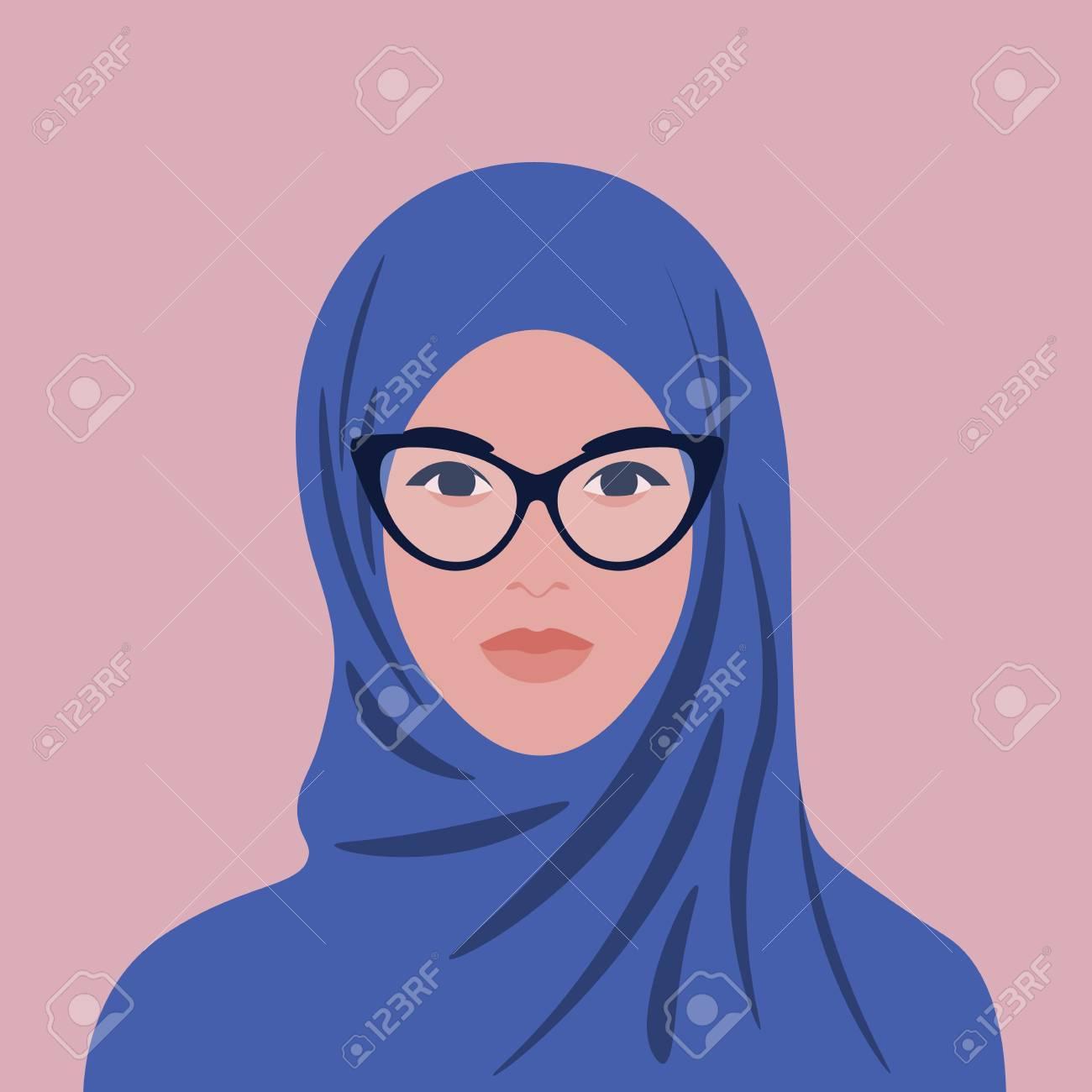 Portrait of an arabian woman in hijab and glasses. Muslim girl avatar. Vector flat illustration - 123245369