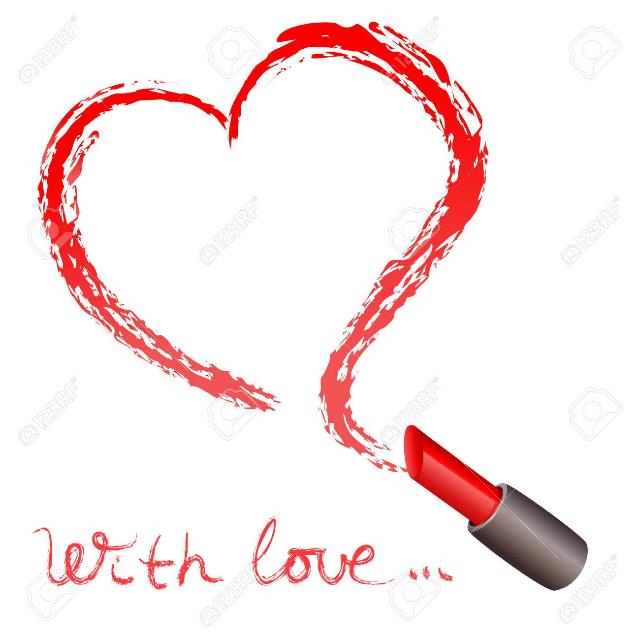 Lipstick and a trace in the form of heart. vector illustration Standard-Bild - 26162328