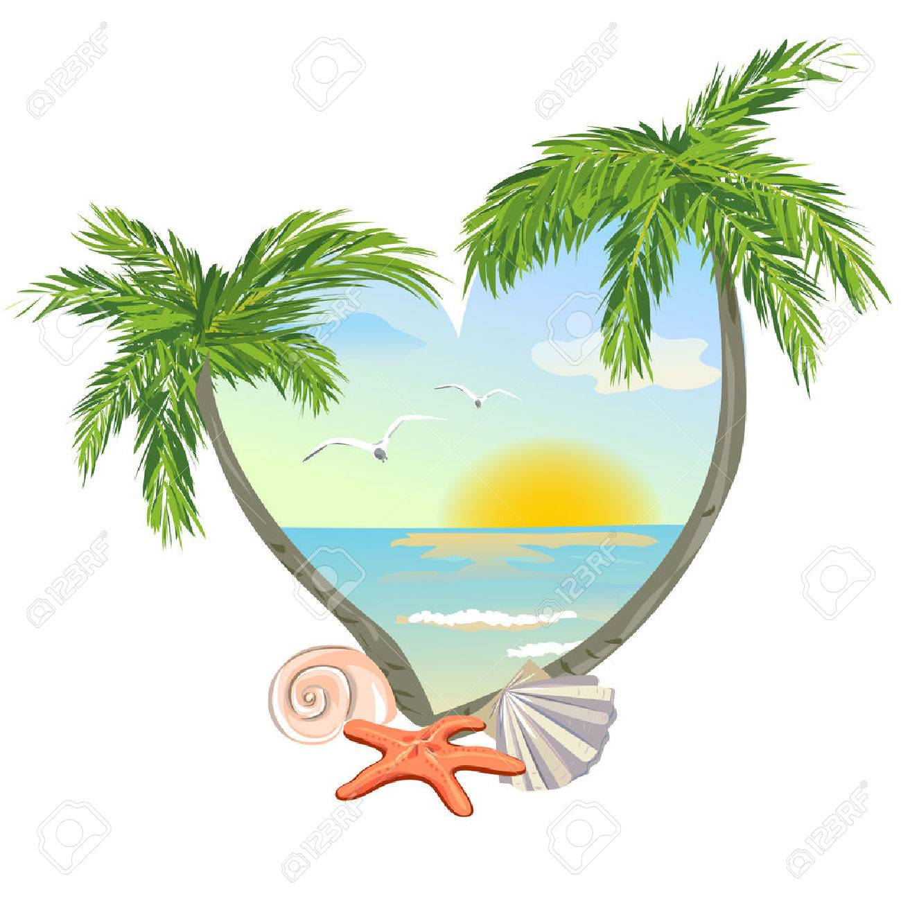 icon in the shape of a heart with the beach and the shells. vector illustration Standard-Bild - 26162329
