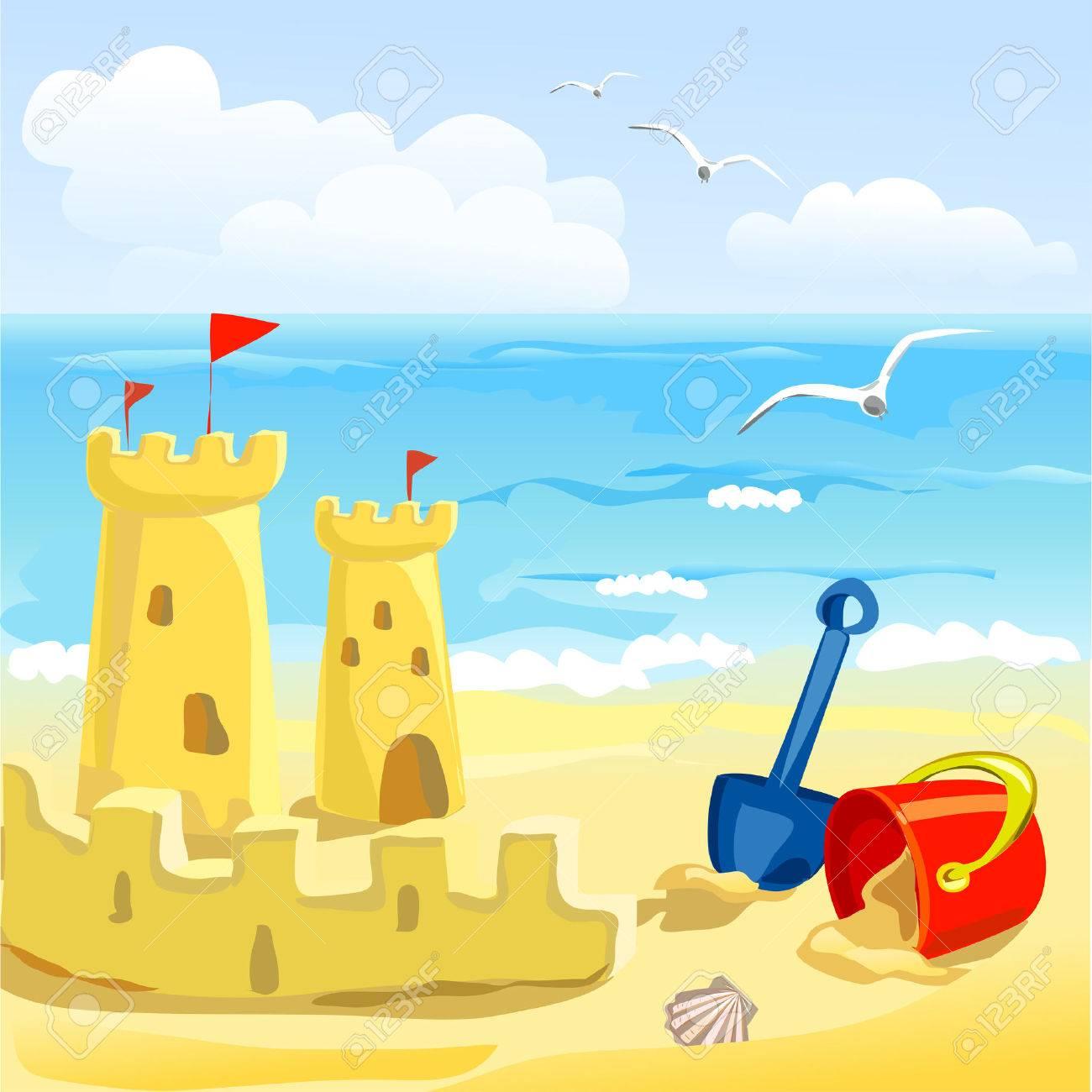 beach with children's toys and sandcastles. vector illustration Standard-Bild - 26233707