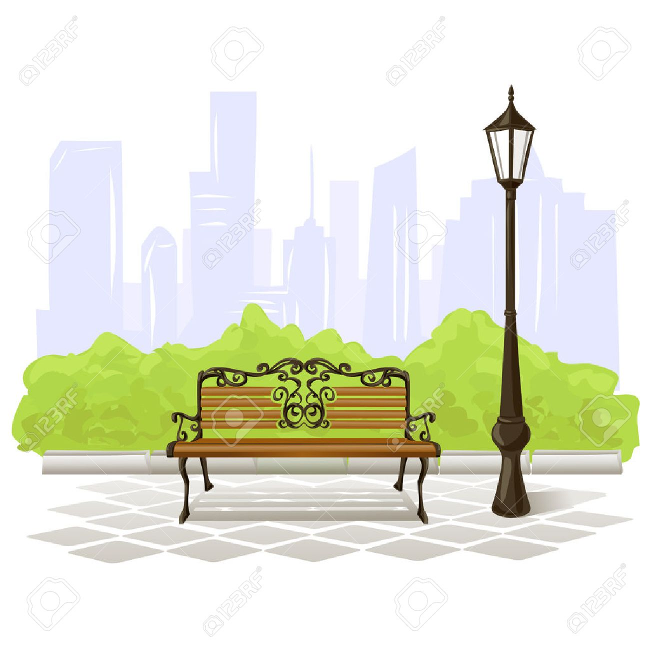 bench and streetlight on city background. vector illustration Standard-Bild - 26233727