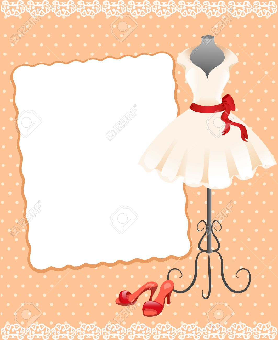 card with a mannequin, dress and shoes. vector illustration Standard-Bild - 26233756