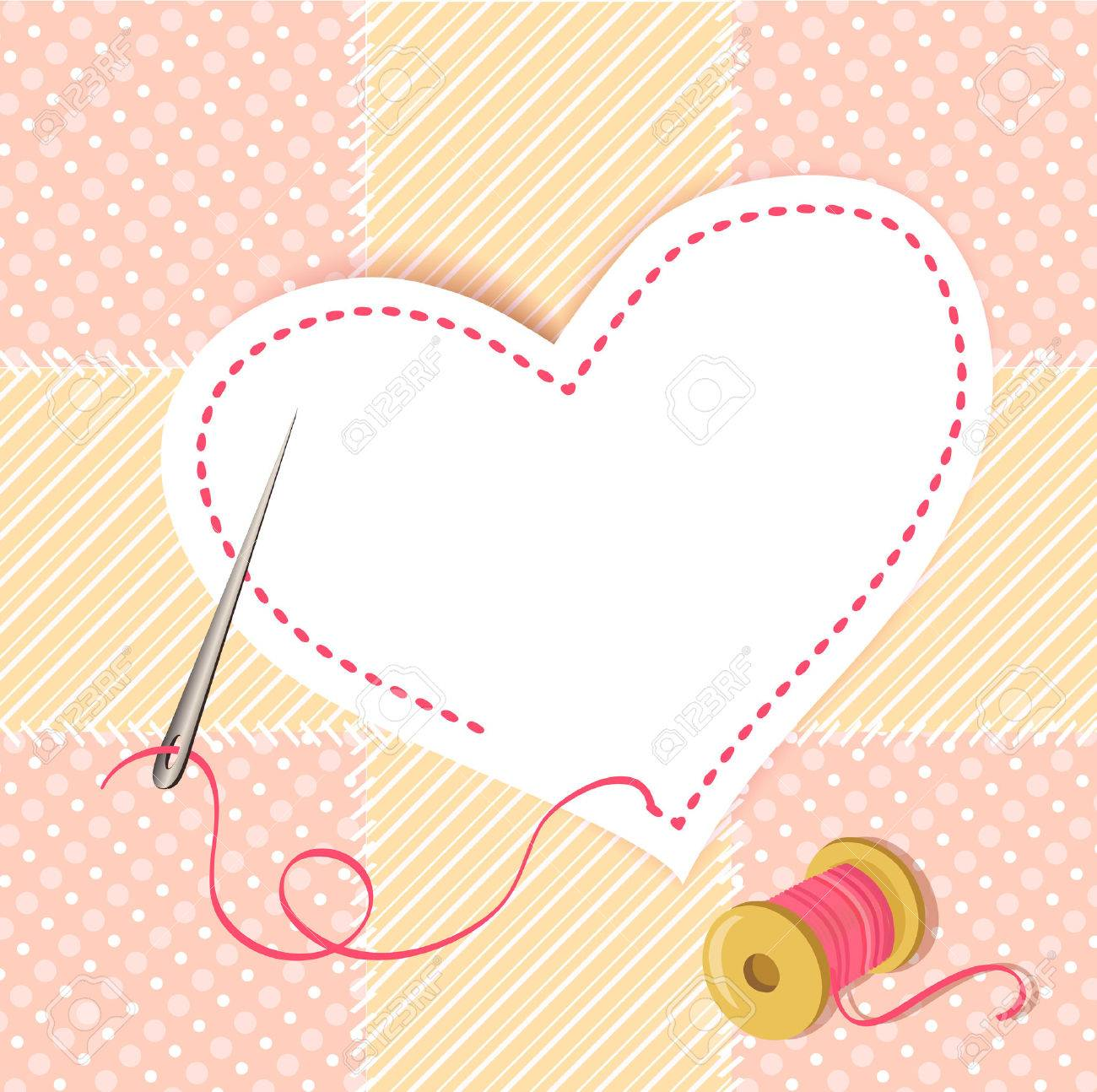 patchwork heart with a needle thread. vector illustration Standard-Bild - 26233852