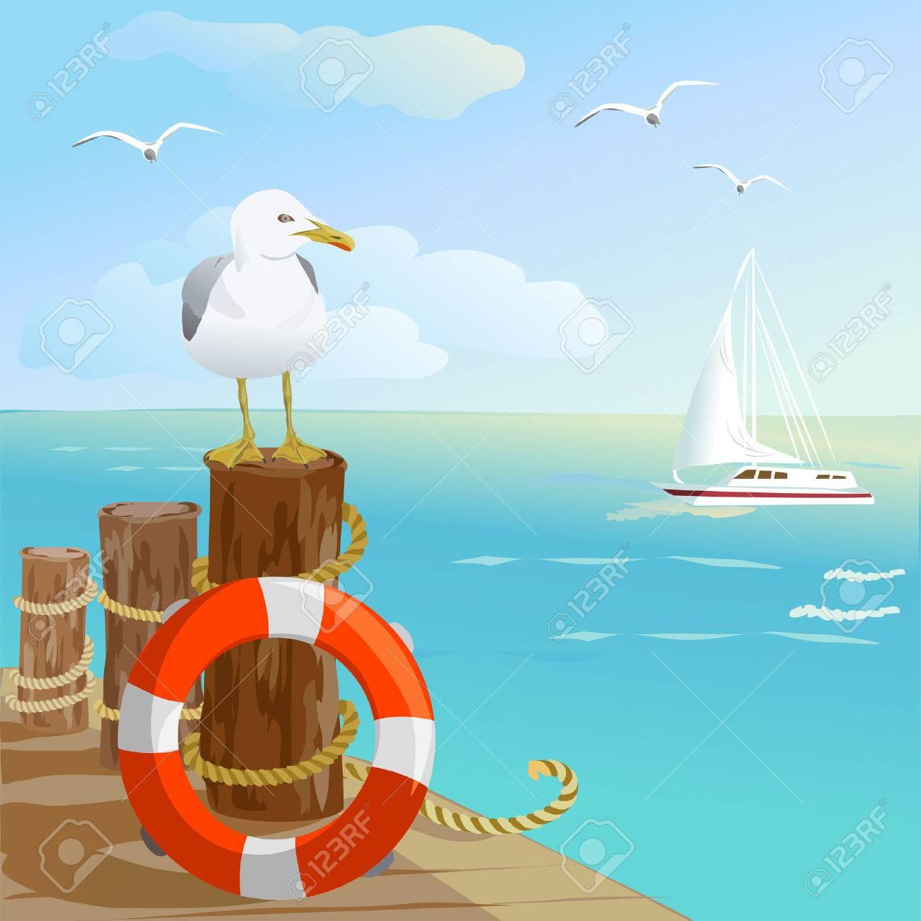 sea, gull, pier, and lifebuoy. vector illustration Standard-Bild - 26233864