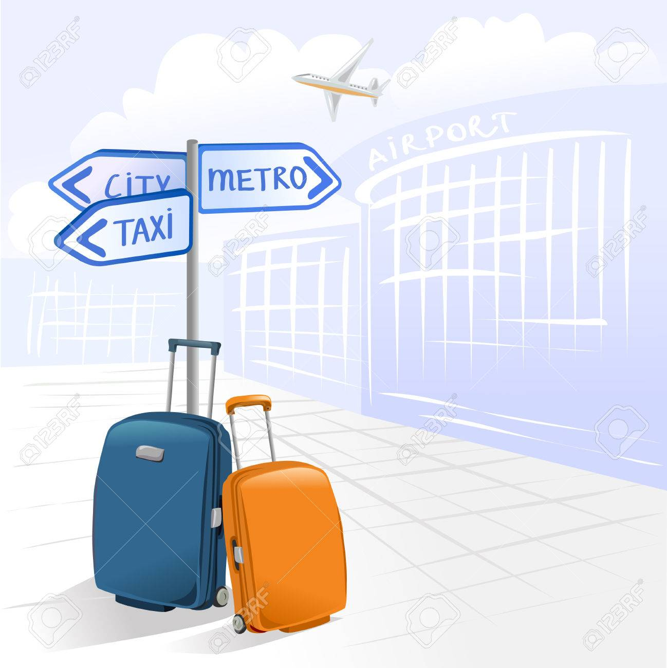 two suitcases and airport. vector illustration Standard-Bild - 26233924