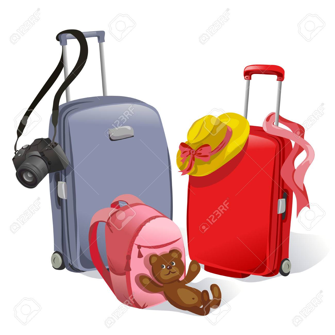two suitcases and children's backpack. vector illustration Standard-Bild - 26233935