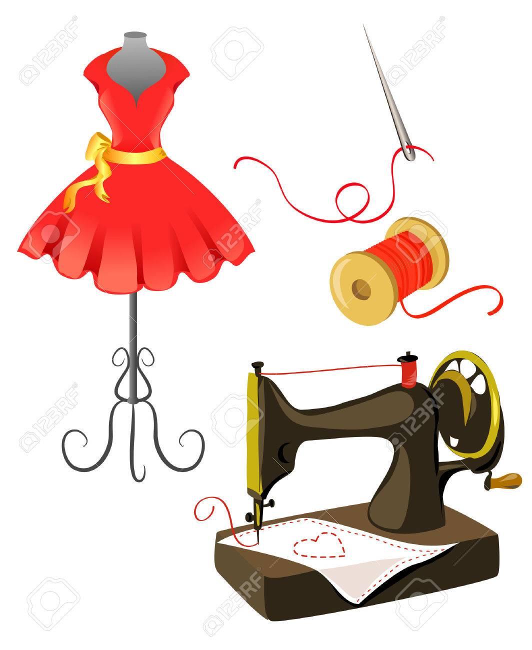 mannequin, dress, sewing machine isolated. Standard-Bild - 26546418