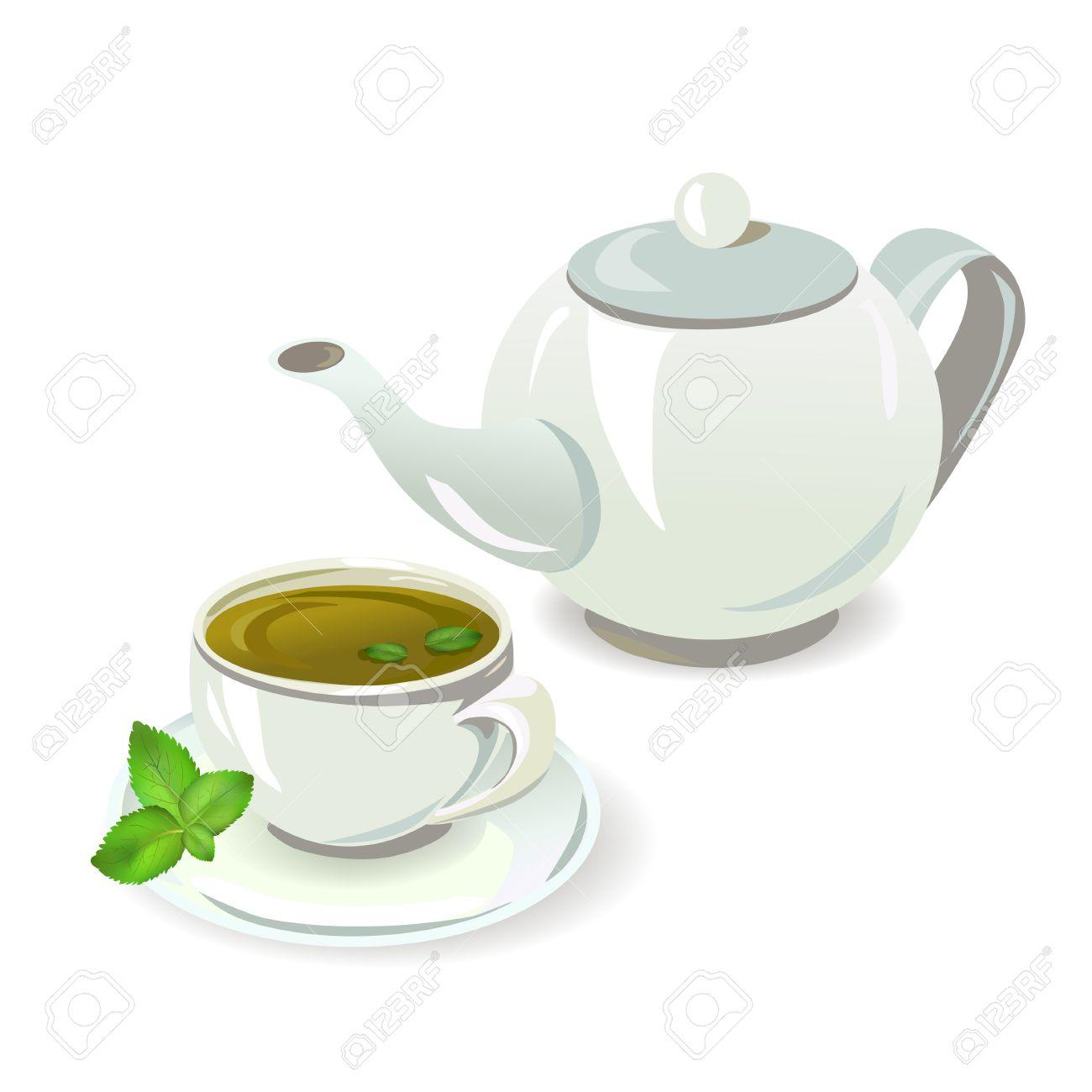 Teekanne und Tasse mit Tee Standard-Bild - 27784379