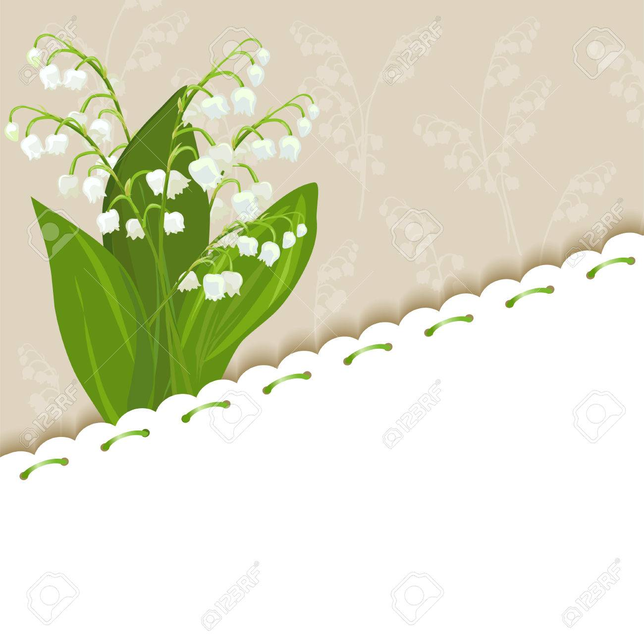 vintage background with lilies of the valley. vector illustration Standard-Bild - 27784390