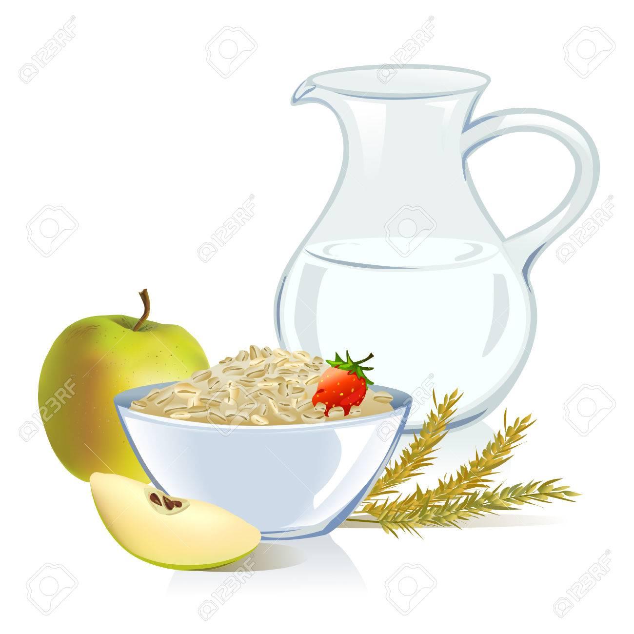 healthy food, cereals, milk, apple. Standard-Bild - 29297772