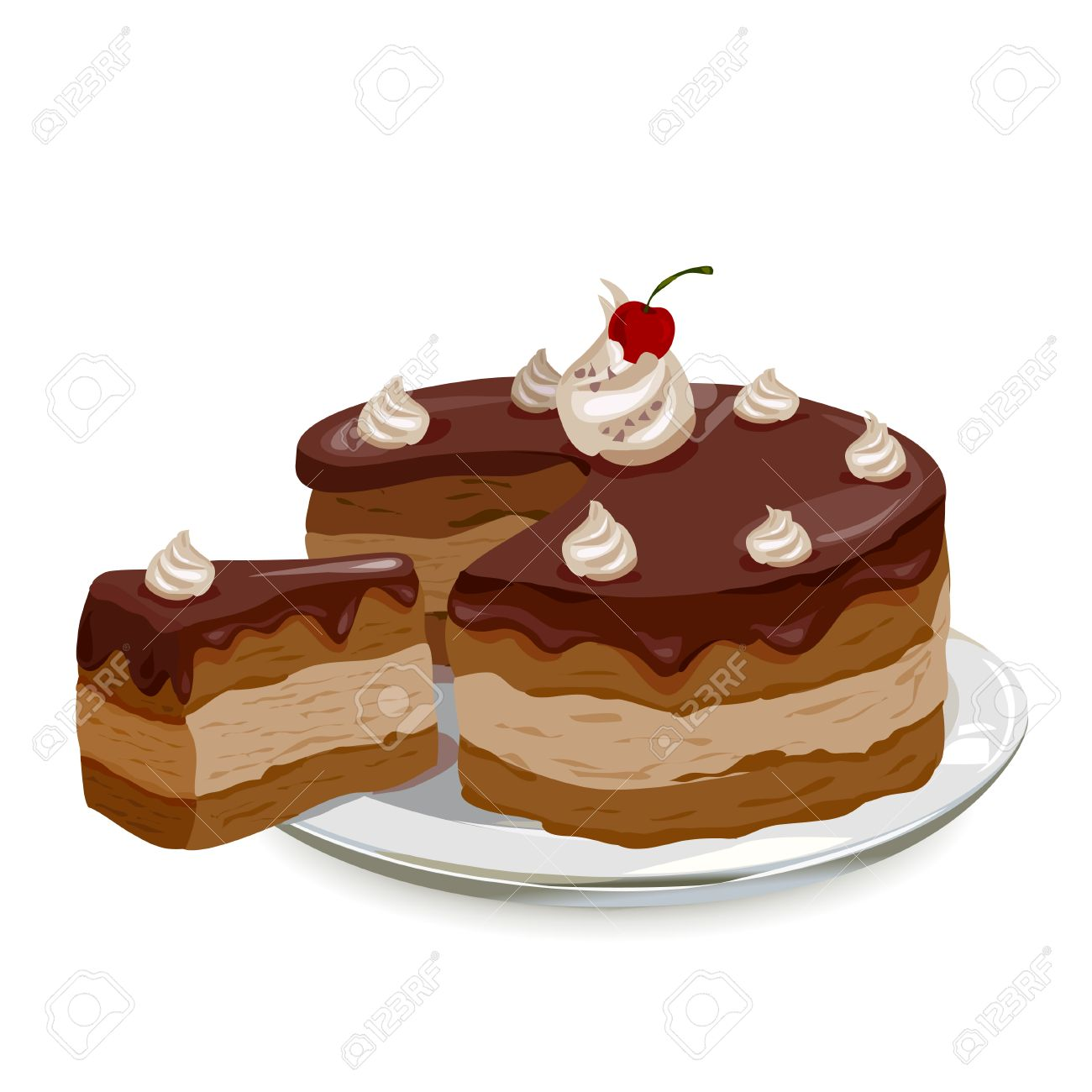 chocolate cake with cherries on a plate. Standard-Bild - 29777653