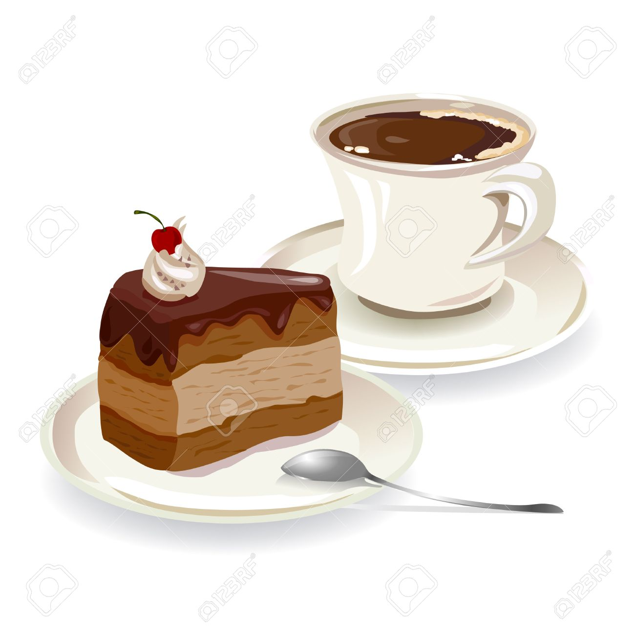 cup of coffee and a piece of cake. Standard-Bild - 29777654