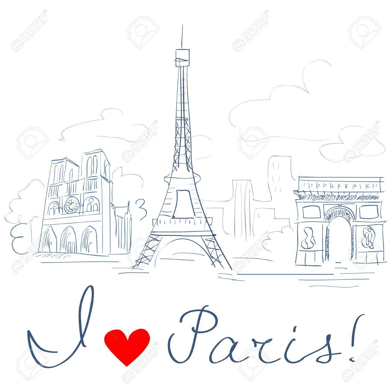sketch of the city, Paris. Standard-Bild - 29778023