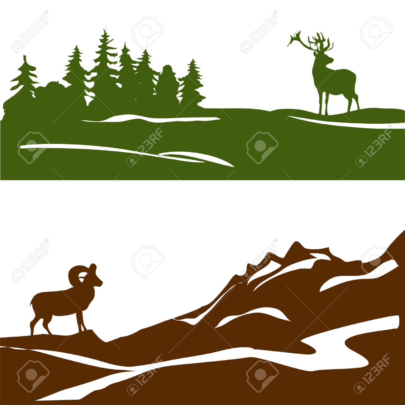 banner with the mountain landscape and forest, silhouette. vector illustration Standard-Bild - 31688487