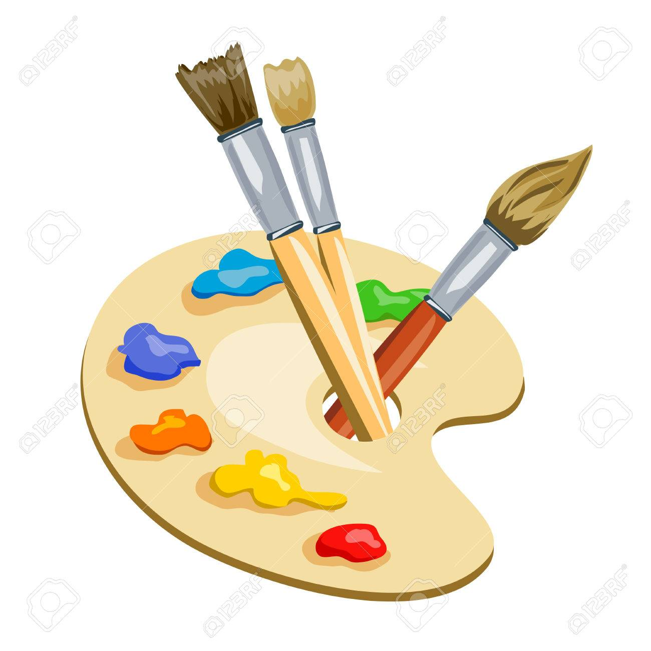 brushes and palette with paints. vector illustration Standard-Bild - 32518439