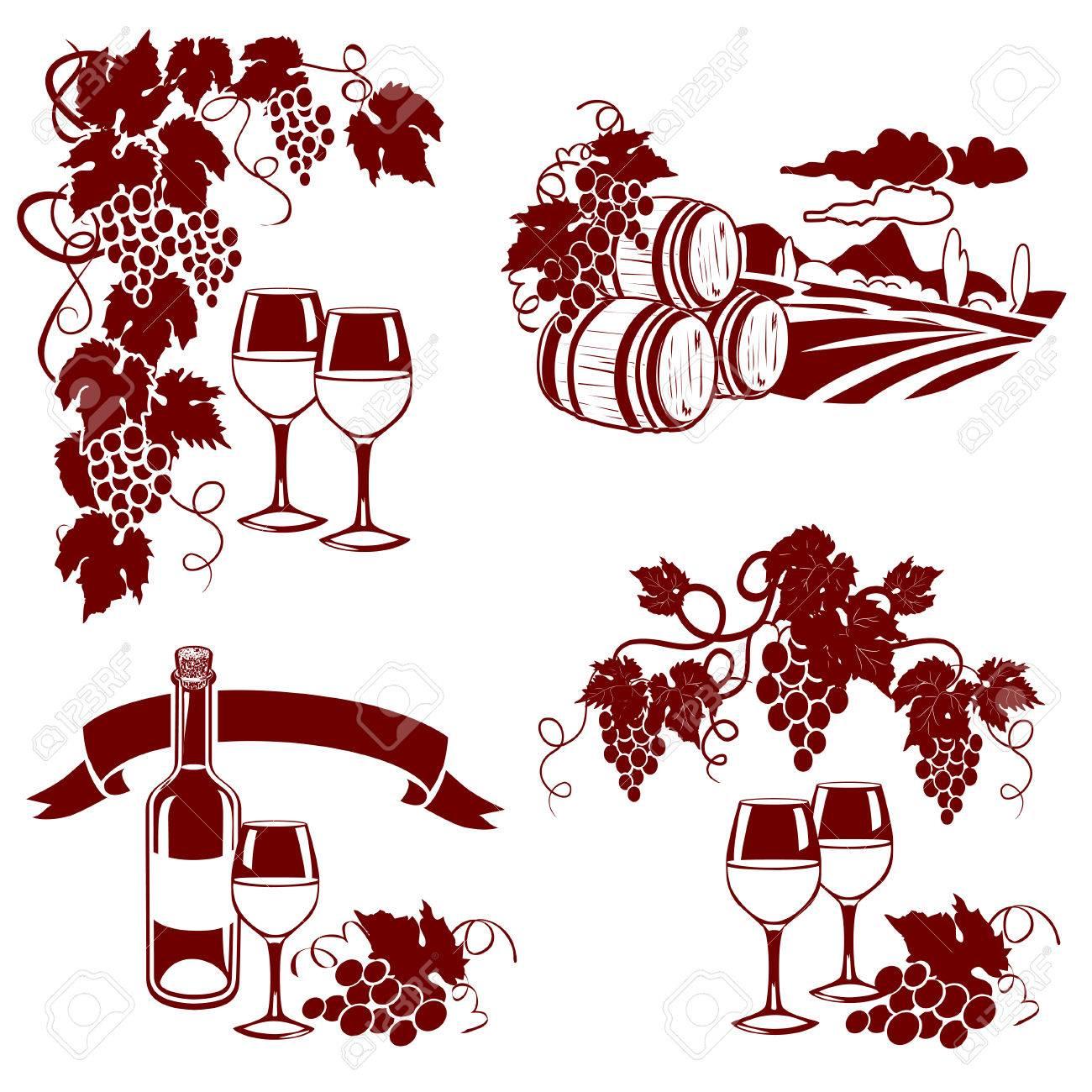 set of wine logos, imprint. vector illustration - 32516930