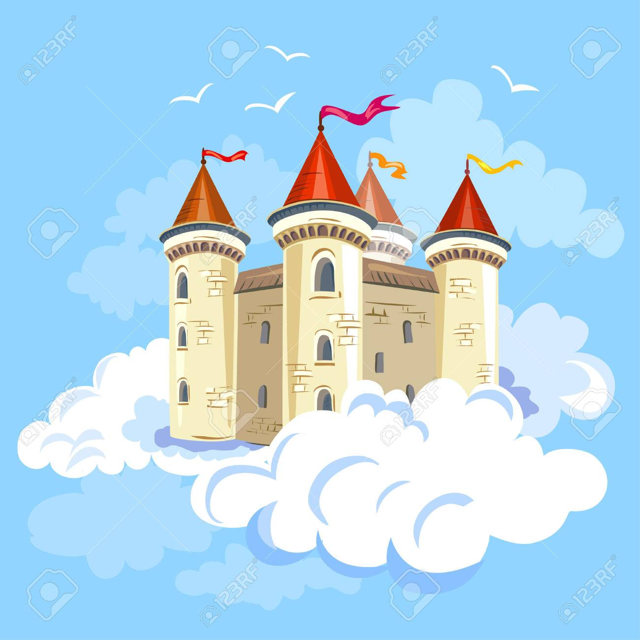 fairy castle in the air in the clouds. vector illustration Standard-Bild - 33214510