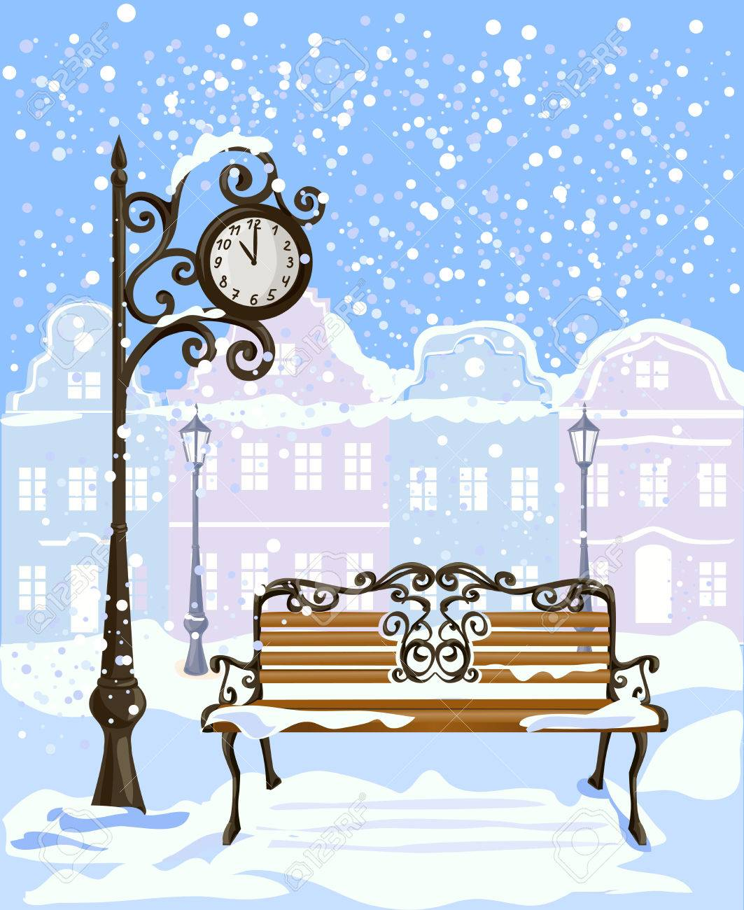 winter city view with street clock and bench. vector illustration Standard-Bild - 33214518