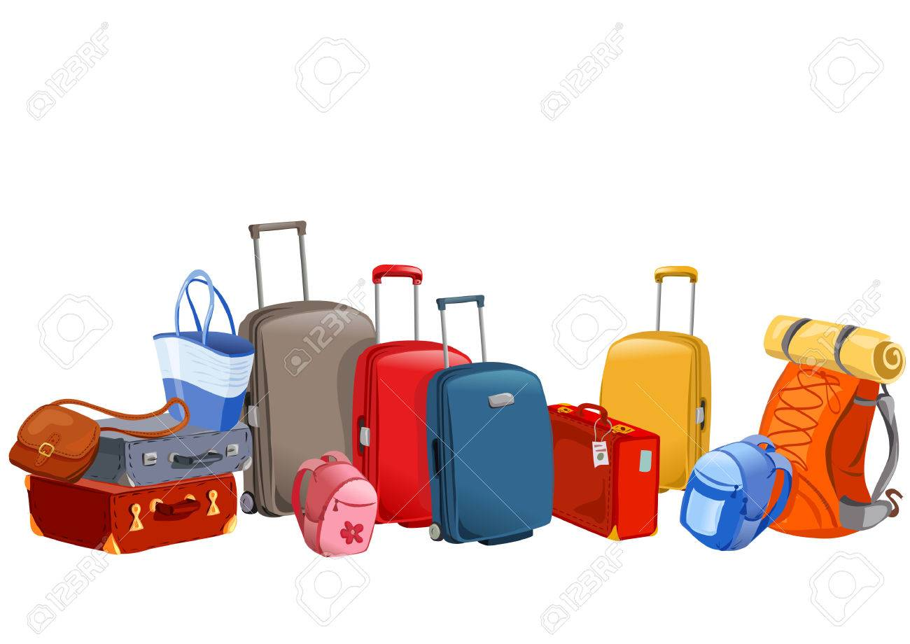 luggage, suitcases, backpacks, packages illustration Standard-Bild - 34247283