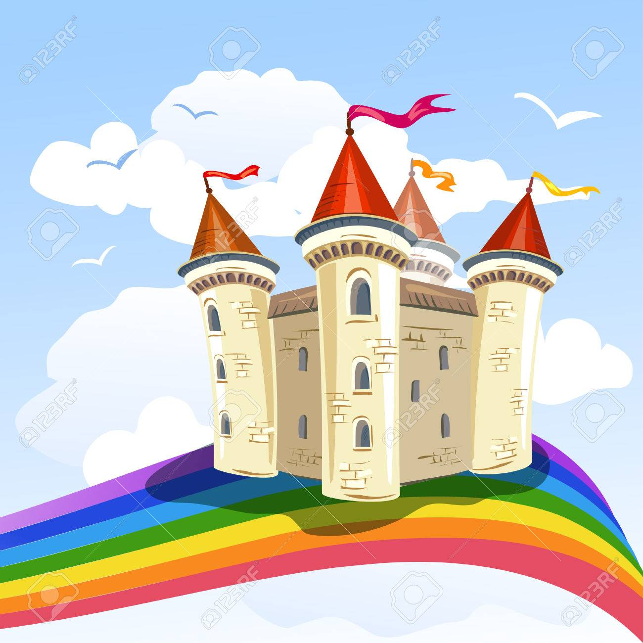 fairy tale castle in the clouds and a rainbow Standard-Bild - 34247726