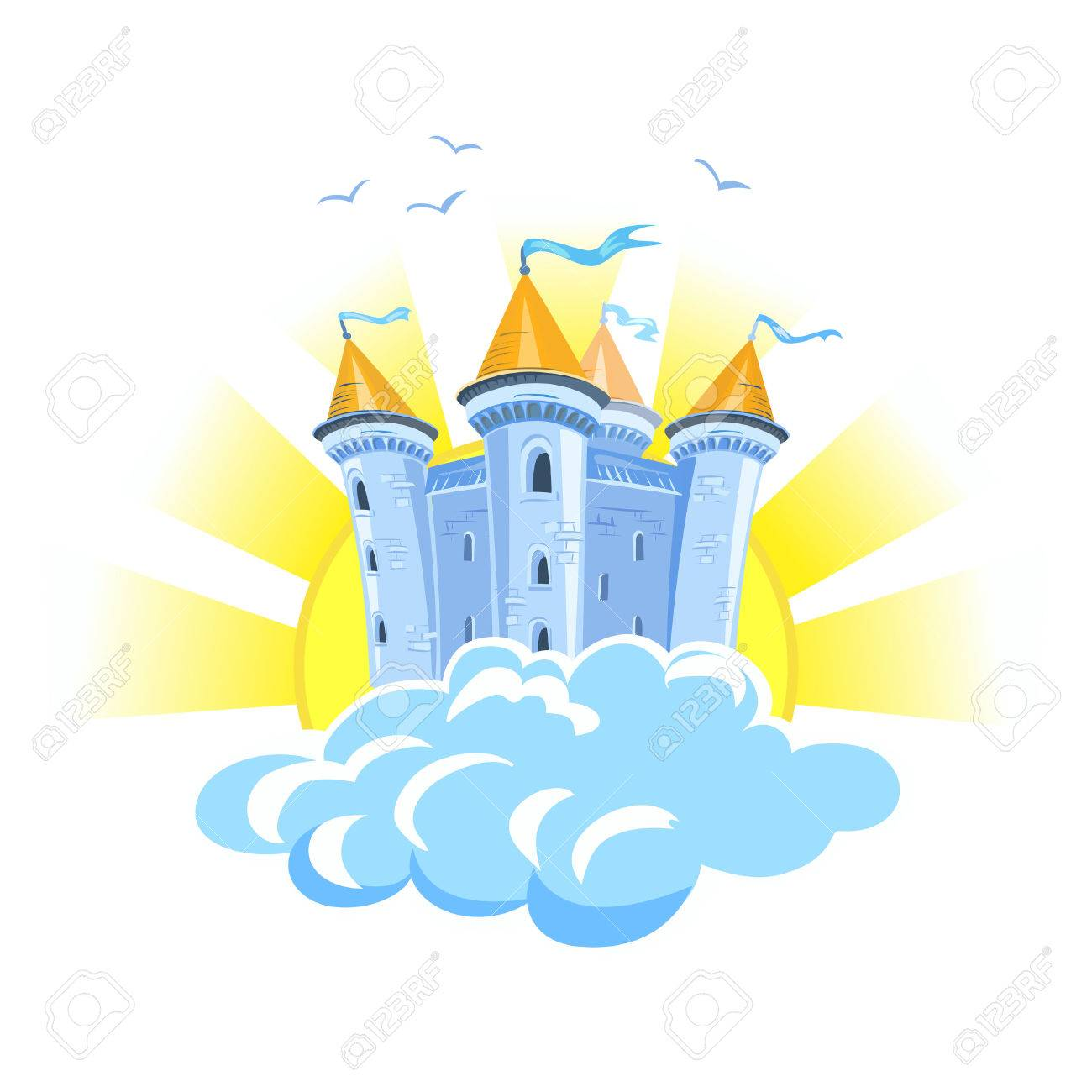 fairy tale castle in the clouds with the sun. vector illustration Standard-Bild - 34247741