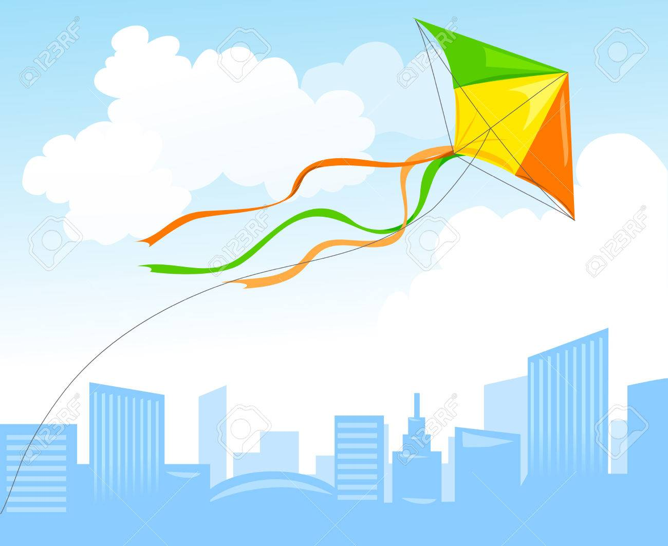 kite and city skyline. vector illustration Standard-Bild - 37263979