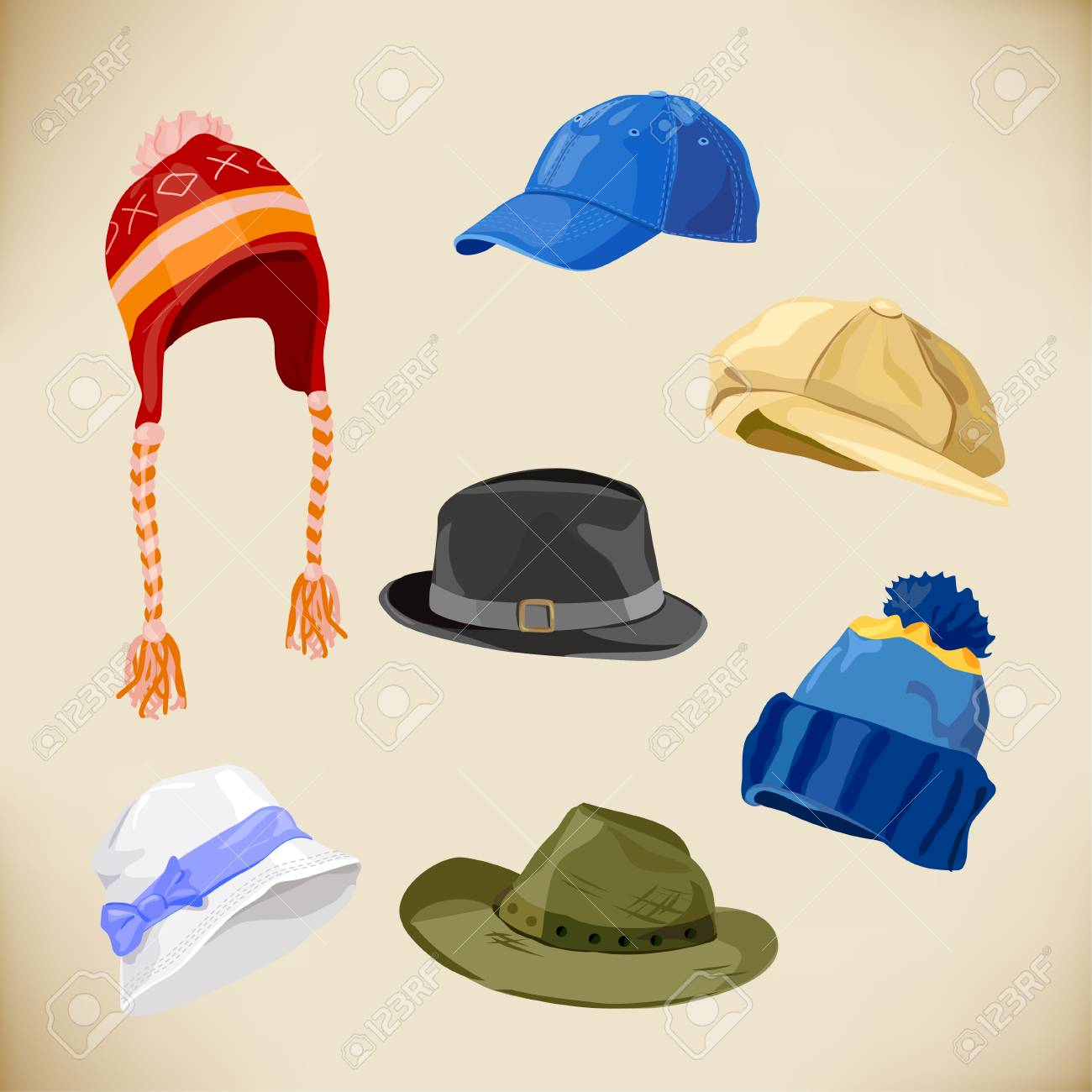 set of different styles of hats  vector illustration