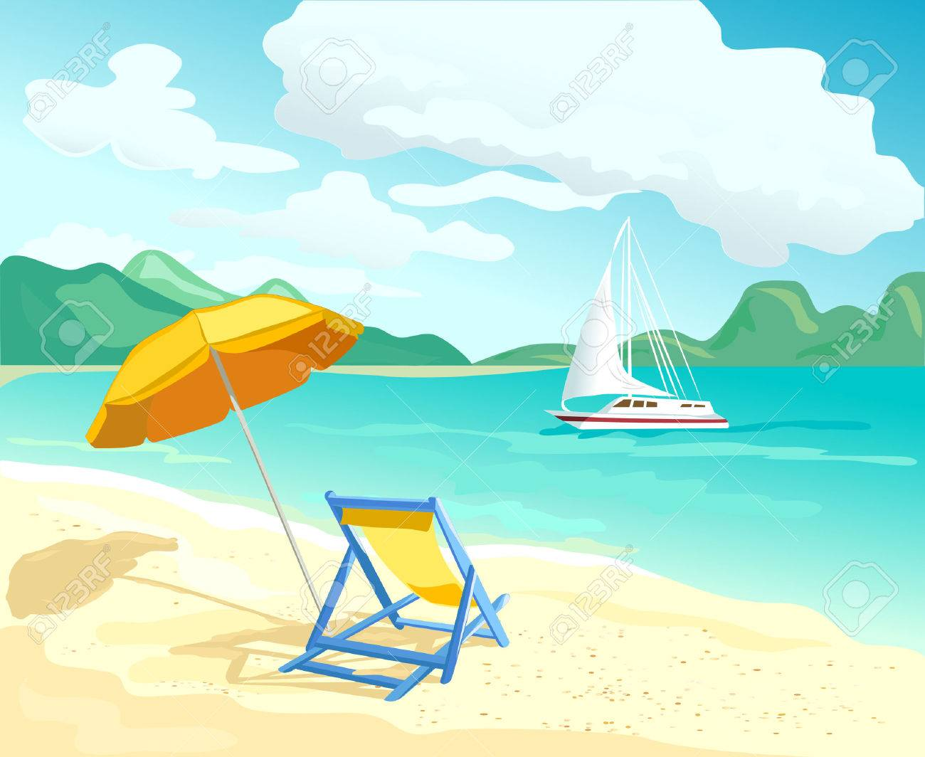 beach with sun loungers and parasols. vector illustration Standard-Bild - 44641560