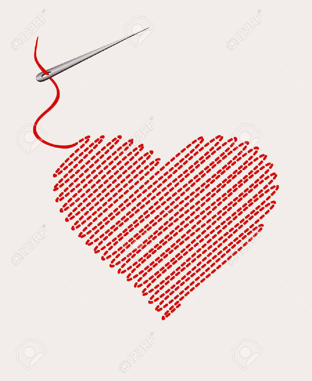 embroidered heart with a needle thread. vector illustration Standard-Bild - 48644542