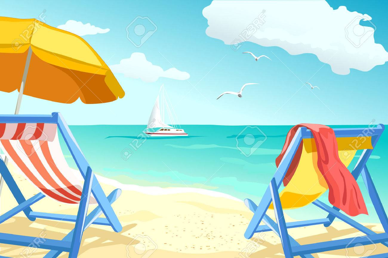 recreation, relaxing on the beach, loungers for couples. vector illustration Standard-Bild - 64968741